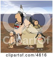 Indian Family Traveling Together On Rocky Mountainous Terrain Clipart
