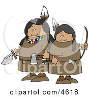 Two Female Indian Warriors Holding A Knife Hatchet And Bow An Arrow Clipart