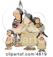 Indian Family Hiking Together Clipart by Dennis Cox