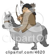 Male Indian Sitting On A Horse With Bow An Arrow Clipart