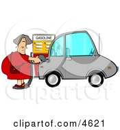 Woman Pumping Unleaded Gas Into Her Compact Car Clipart