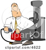 White Businessman Pumping Gasoline Into A Gas Can Clipart