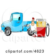 Man At The Gas Station Pumping Diesel Fuel Into His Pickup Truck Clipart