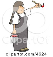 Young Girl Artist Painting With A Paintbrush And Bucket Of Red Paint Clipart