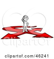 Royalty Free RF Clipart Illustration Of A White Smartoon Character Stuck At A Crossroads by Tonis Pan
