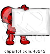 Red Smartoon Character Crouching And Holding A Blank Sign