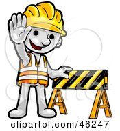 Royalty Free RF Clipart Illustration Of A White Smartoon Character Construction Worker