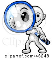 White Smartoon Character Peering Through A Magnifying Glass