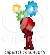 Royalty Free RF Clipart Illustration Of A Red Smartoon Character Thinking Hard To Solve A Problem by Tonis Pan