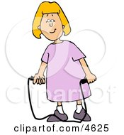Happy Girl With A Jump Rope Clipart