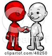 Poster, Art Print Of Red And White Smartoon Characters Shaking Hands