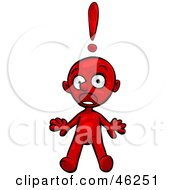 Red Smartoon Character Jumping Back In Shock