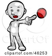 Royalty Free RF Clipart Illustration Of A White Smartoon Character Pointing To A Bullet On A List