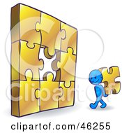 Royalty Free RF Clipart Illustration Of A Blue Smartoon Character Completing A Jigzaw Puzzle