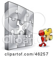 Royalty Free RF Clipart Illustration Of A Red Smartoon Character Carrying The Last Piece To A Puzzle by Tonis Pan