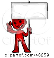 Royalty Free RF Clipart Illustration Of A Red Smartoon Character Giving A Peace Gesture And Holding Up A Blank Sign by Tonis Pan
