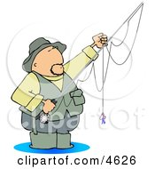 Fly Fisherman Standing In Water With A Baited Hook On A Rod And Reel Clipart