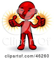 Royalty Free RF Clipart Illustration Of A Red Smartoon Character Giving Two Thumbs Up by Tonis Pan