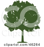 Royalty Free RF Clipart Illustration Of A Green Silhouetted Mature Park Tree