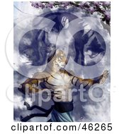 Royalty Free RF Clipart Illustration Of A Tiger Martial Arts Master Practicing Under A Blossoming Tree by Tonis Pan