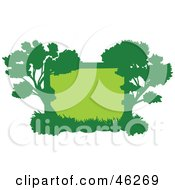 Royalty Free RF Clipart Illustration Of A Green Silhouetted Tree Frame