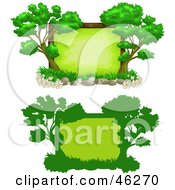 Royalty Free RF Clipart Illustration Of Two Tree Text Boxes