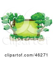 Royalty Free RF Clipart Illustration Of A Blank Green Text Box Framed With Flowers Rocks And Trees