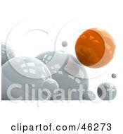 Royalty Free RF Clipart Illustration Of A Different Orange Sphere Floating Over White Ones by Tonis Pan