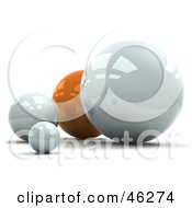 Royalty Free RF Clipart Illustration Of A 3d Orange Sphere Behind White Ones by Tonis Pan