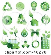 Digital Collage Of Green Energy And Ecology Icons