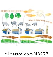 Royalty Free RF Clipart Illustration Of A Digital Collage Of Fencing Sheep Weather Barns And Hills