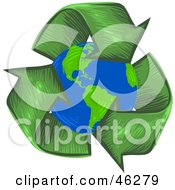 Royalty Free RF Clipart Illustration Of A Circle Of Green Arrows Around The Planet Earth