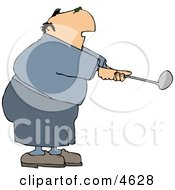 Overweight Elderly Man Swinging A Golf Club