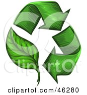Royalty Free RF Clipart Illustration Of A Circle Of Green Sketched Arrows One As A Leaf by Tonis Pan