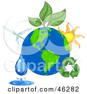Royalty Free RF Clipart Illustration Of Green Energy And Recycling Plants Around The Earth