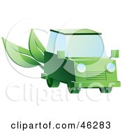 Royalty Free RF Clipart Illustration Of A Green Hybrid Car With Leaves On The Back
