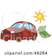 Royalty Free RF Clipart Illustration Of The Sun Over A Red Solar Powered Car With Leaves In The Back
