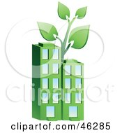 Royalty Free RF Clipart Illustration Of A Plant Growing On Top Of A Green Environmentally Friendly Apartment Building by Tonis Pan