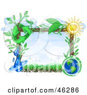 Royalty Free RF Clipart Illustration Of A Renewable Energy Scene Frame by Tonis Pan