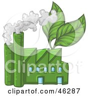 Green Industrial Factory With Leaves And Smoke