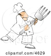 Male Chef With A Big Fork Clipart