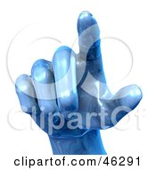 Royalty Free RF Clipart Illustration Of A 3d Blue Metal Hand Pointing Outward by Tonis Pan