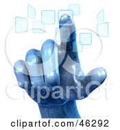 3d Blue Robotic Hand Pushing Touch Screen Buttons