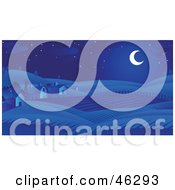 Royalty Free RF Clipart Illustration Of A Crescent Moon Casting Blue Light On Barns And Farm Land