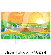 The Morning Sun Rising Upon Rolling Hills Barns And Sheep On A Farm