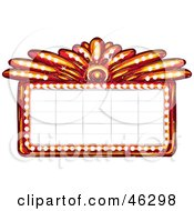 Royalty Free RF Clipart Illustration Of A Blank Illuminated Red Casino Or Theater Marquee Sign by Tonis Pan