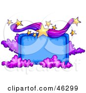 Blank Blue Sign Bordered With Purple Clouds And Yellow Stars