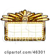 Royalty Free RF Clipart Illustration Of A Blank Illuminated Gold Casino Or Theater Marquee Sign by Tonis Pan