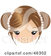 Royalty Free RF Clipart Illustration Of A Girl With Dirty Blond Hair Wearing Floral Accessories