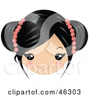 Royalty Free RF Clipart Illustration Of A Girl With Black Hair Wearing Floral Accessories by Melisende Vector
